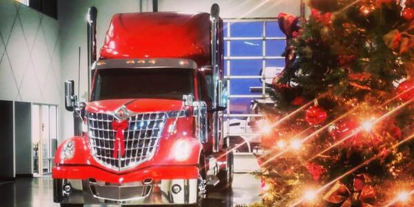 Commercial truck during Christmas