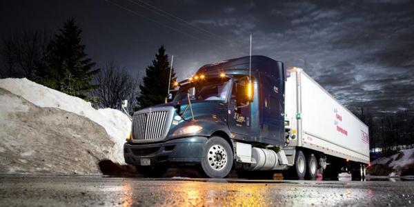 commercial truck idling at night